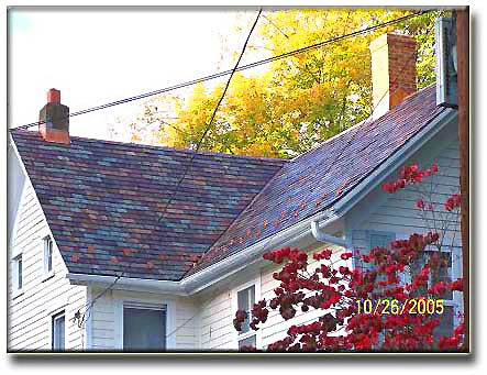 New roof of Beauty Greens Purples Sea Greens buffed to Brown Recycled Slate Roof